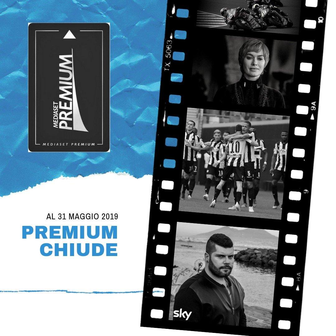 Mediaset Premium chiude il 31 Maggio 2019
